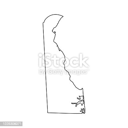 istock Delaware line USA state, American map illustration, America vector isolated on white background, outline style 1225306071