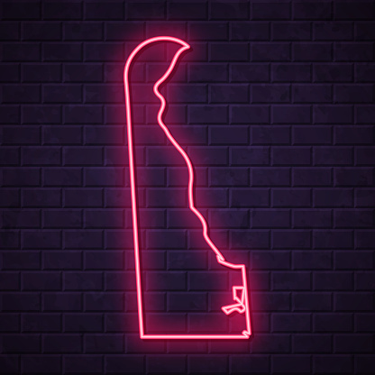 Delaware map - Glowing neon sign on brick wall background