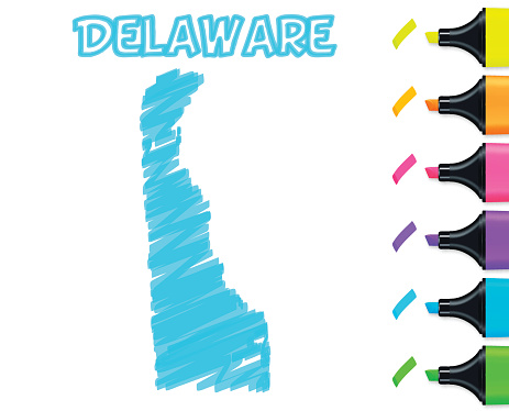 Delaware map hand drawn on white background, blue highlighter