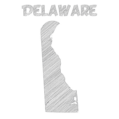 Delaware map hand drawn on white background