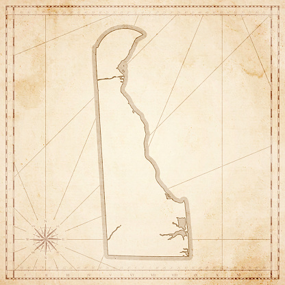 Delaware map in retro vintage style - old textured paper