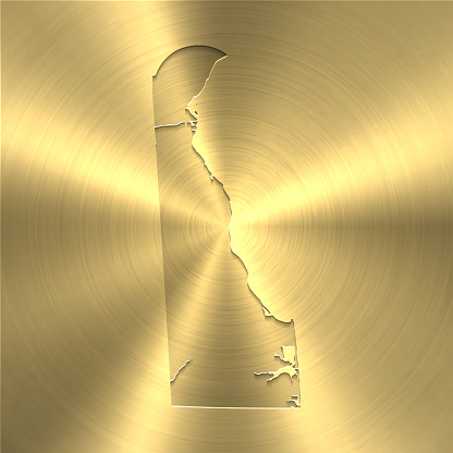 Delaware map on gold background - Circular brushed metal texture