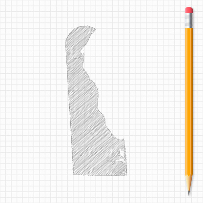 Delaware map sketch with pencil on grid paper