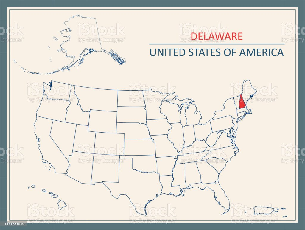Image of: Delaware Map Usa Printable Stock Illustration Download Image Now Istock