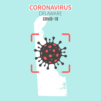 Delaware map with a coronavirus cell (COVID-19) in red viewfinder