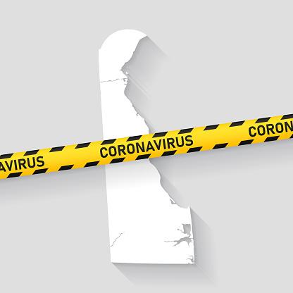 Delaware map with Coronavirus caution tape. Covid-19 outbreak