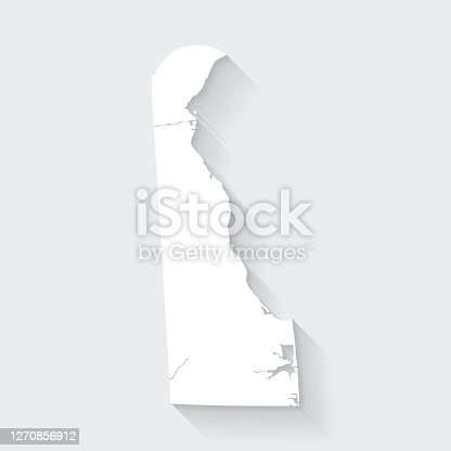 istock Delaware map with long shadow on blank background - Flat Design 1270856912