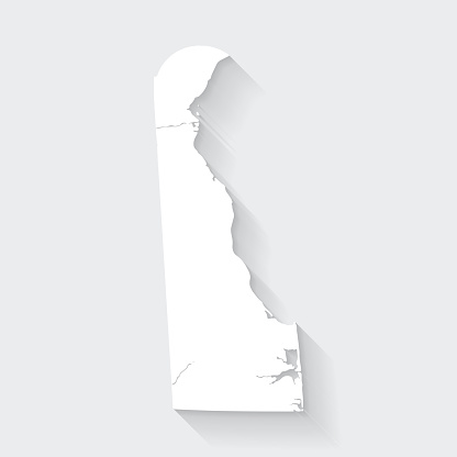 Delaware map with long shadow on blank background - Flat Design