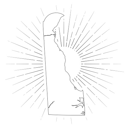 Delaware map with sunbeams on white background
