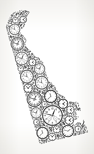 Delaware on Time and Clock Vector Icon Pattern