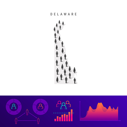 Delaware people map. Detailed vector silhouette. Mixed crowd of men and women. Population infographic elements