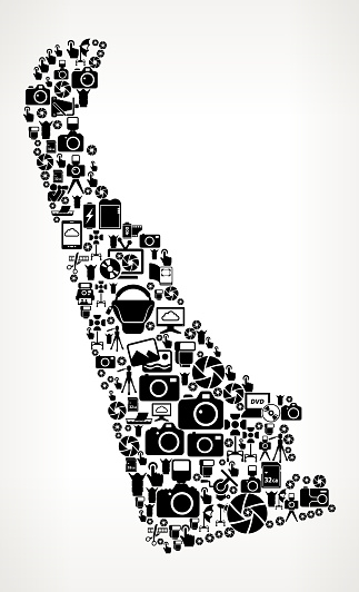 Delaware Photography Black and white Vector Icons Background