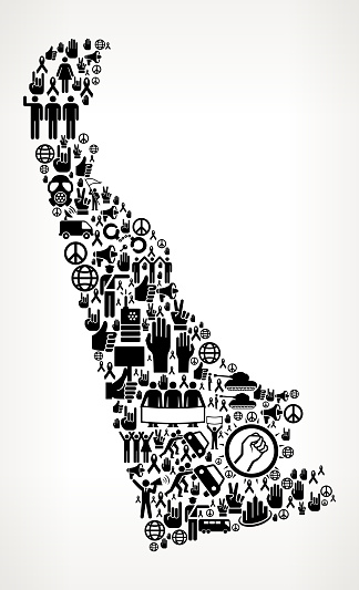 Delaware Protest and Civil Rights Vector Icons Background