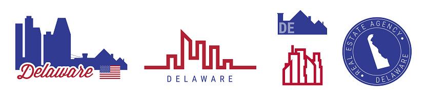 Delaware real estate agency. US realty vector emblem icon set