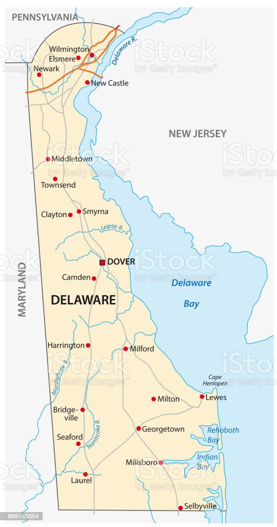 Delaware Road Map Stock Vector Art More Images Of Assistance Istock - Delaware-on-a-us-map
