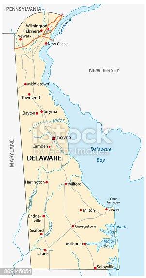 istock Delaware road map 869145054