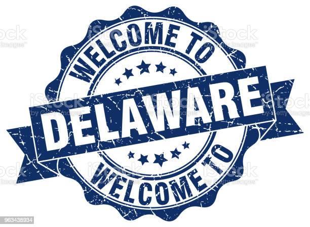 Delaware Okrągła Pieczęć Wstążki - Stockowe grafiki wektorowe i więcej obrazów Białe tło