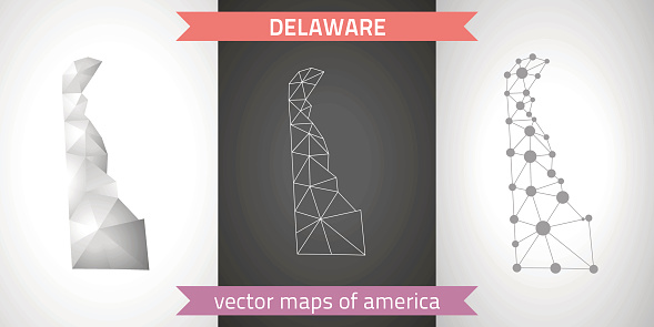 Delaware. set graphic vector maps of Delaware, polygonal, grey, mosaic, triangle illustrations