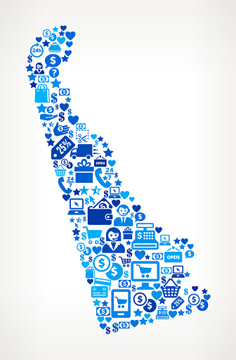 Delaware Shopping and Commerce Blue Icon Pattern