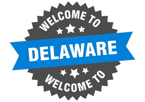 Delaware sign. welcome to Delaware blue sticker
