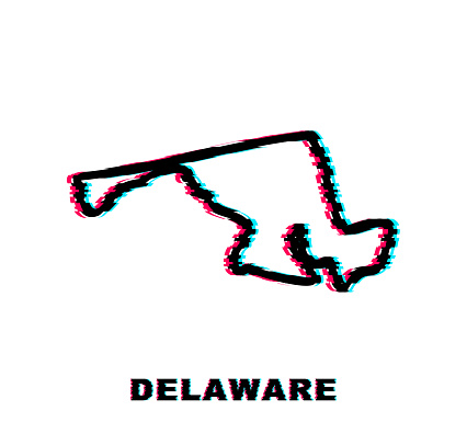 Delaware state map outline glitch icon. Vector illustration.