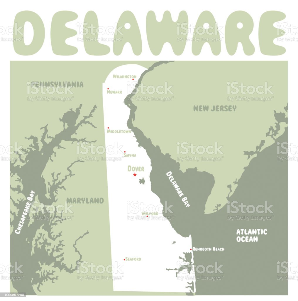 Delaware State Map Stock Vector Art & More Images of Delaware - US on