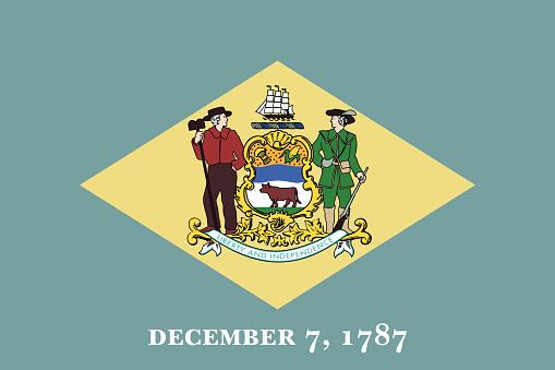 Delaware State of America flag, vector image
