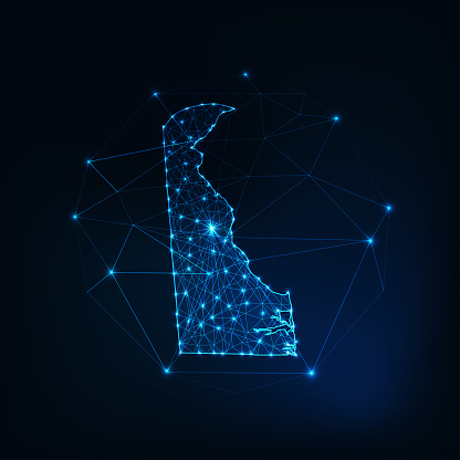 Delaware state USA map glowing silhouette made of stars lines dots triangles, low polygonal shapes.