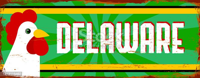 istock Delaware State - USA. Vintage rusty metal sign vector illustration. Vector state in grunge style 1313115462