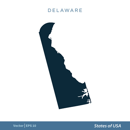 Delaware - States of US Map Icon Vector Template Illustration Design. Vector EPS 10.