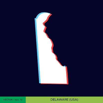 Delaware - States of US Map On Dark Background Vector Stock Illustration Design Template. Two Color Style On The Outline.