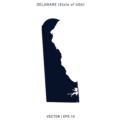Delaware - States of USA Map Vector Stock Illustration Design Template. Vector eps 10.