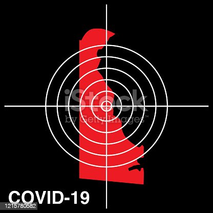 istock COVID-19 Delaware Target Map Icon 1215780582