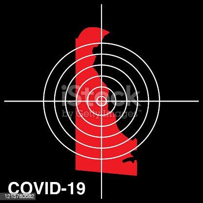 istock COVID-19 Delaware Target Map Icon 1215780582