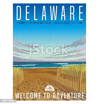Delaware travel poster or sticker. Retro style vector illustration of serene beach and Atlantic ocean.