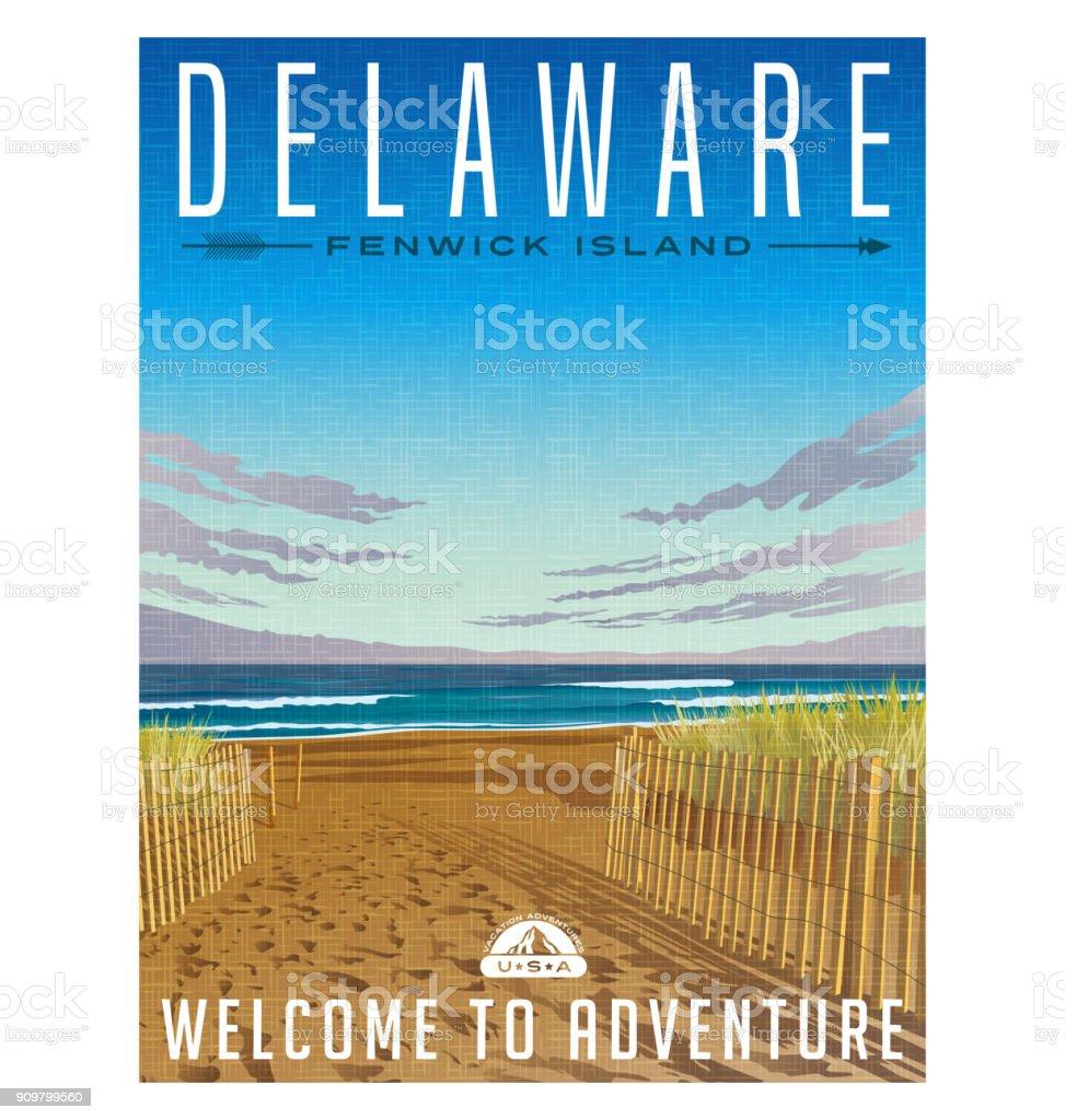 Delaware travel poster. Serene beach, sand dunes and Atlantic ocean vector art illustration