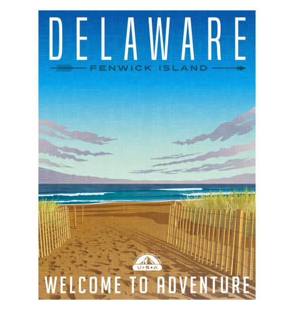 delaware reisen poster. ruhige strand, dünen und atlantik - nationalpark stock-grafiken, -clipart, -cartoons und -symbole
