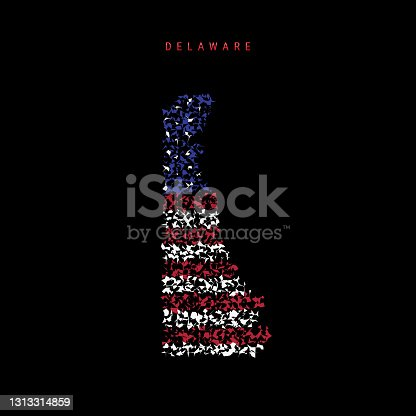 istock Delaware US state flag map, chaotic particles pattern in the american flag colors. Vector illustration 1313314859
