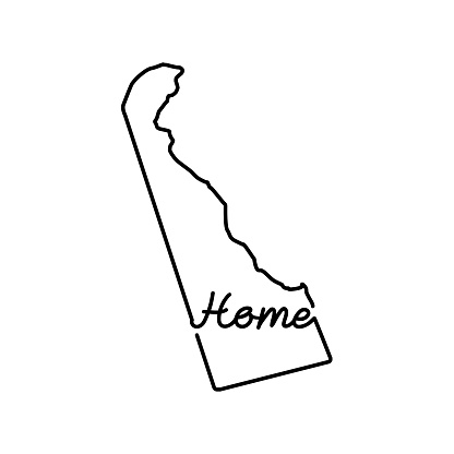 Delaware US state outline map with the handwritten HOME word. Continuous line drawing of patriotic home sign