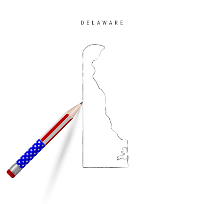 Delaware US state vector map pencil sketch. Delaware outline map with pencil in american flag colors