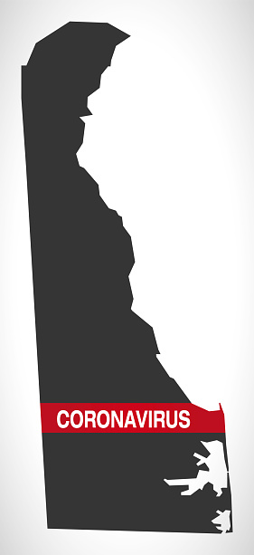 Delaware USA federal state map with Coronavirus warning illustration