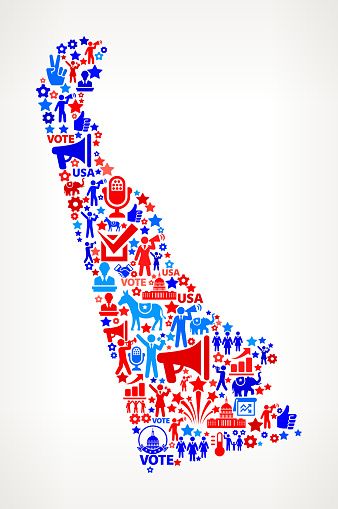 Delaware Vote and Elections USA Patriotic Icon Pattern