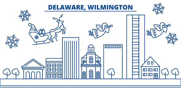 USA, Delaware , Wilmington winter city skyline. Merry Christmas and Happy New Year decorated banner. Winter greeting card with snow and Santa Claus. Flat, line vector. Linear christmas illustration