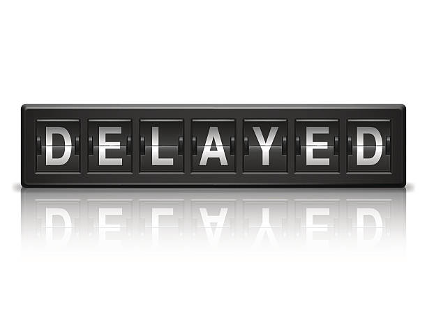 Delayed message. Black information board with delayed message. waiting stock illustrations