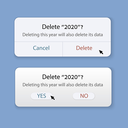 """Delete """"2020""""? Deleting this year will also delete its data. Windows to remove 2020. Yes or no. Delete or Cancel. Concept to remove bad year. Vector illustration"""