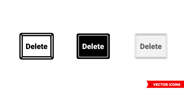 Delete button icon of 3 types color, black and white, outline. Isolated vector sign symbol