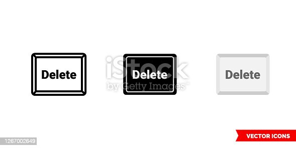 istock Delete button icon of 3 types color, black and white, outline. Isolated vector sign symbol 1267002649