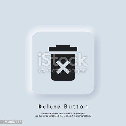 istock Delete button icon. Trash can icon. Rubbish basket. Vector EPS 10. UI icon. Neumorphic UI UX white user interface web button. Neumorphism 1303867117