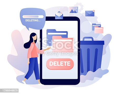 istock Delete concept. Tiny woman deleting data on smartphone. Move unnecessary files to the trash bin. Cleaning digital memory. Modern flat cartoon style. Vector illustration on white background 1296846625