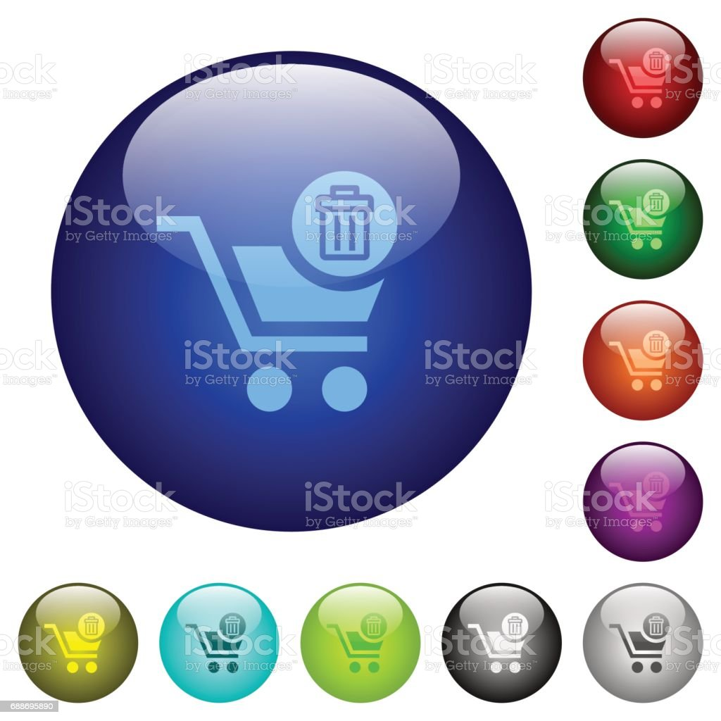Delete from cart color glass buttons vector art illustration